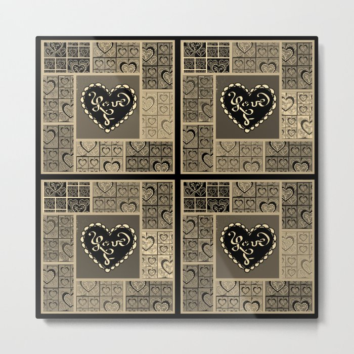 4 Square Hearts Pattern (black and gray) Metal Print