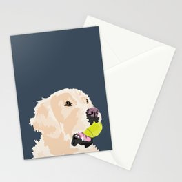 Golden Retriever with tennis ball Stationery Cards