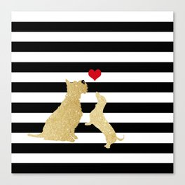 Schnauzer Dog and Dachshund Dog Canvas Print
