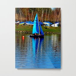 Little Blue Sailboat  Metal Print