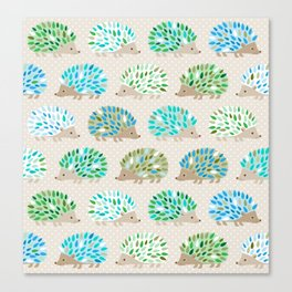 Hedgehog polkadot in green and blue Canvas Print