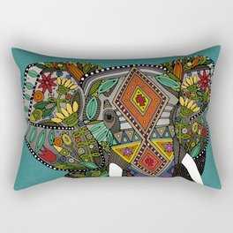 floral elephant teal Rectangular Pillow