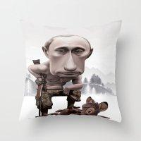 putin Throw Pillows featuring Putin by cristosalgado