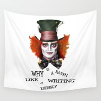 mad hatter Wall Tapestries featuring The Mad Hatter by BeckiBoos