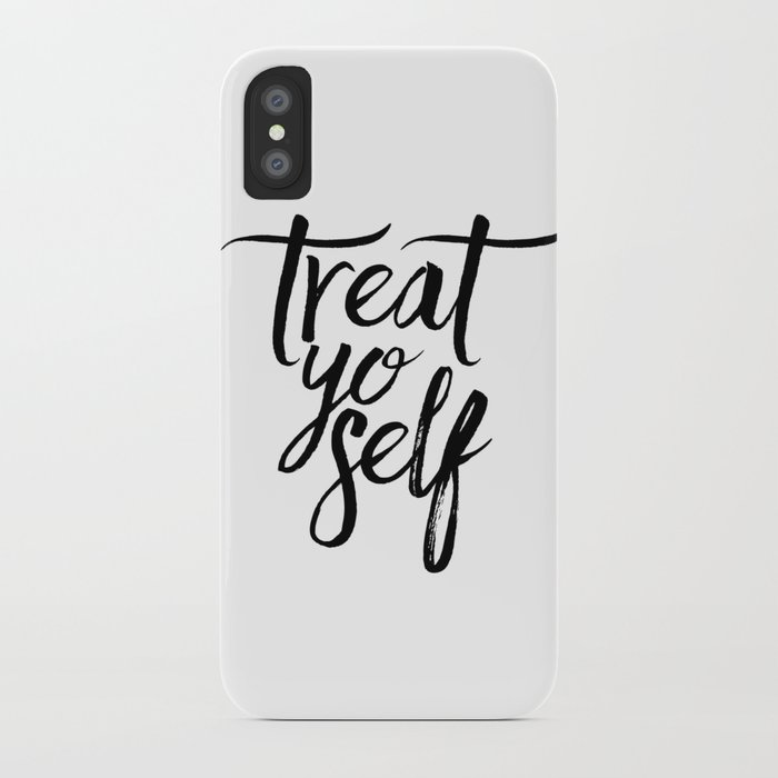 Wall Decor Watercolor Dorm Wall Art Parks and Recreation Print Treat Yo  Self Print Funny Quote Print iPhone Case by typohouseart