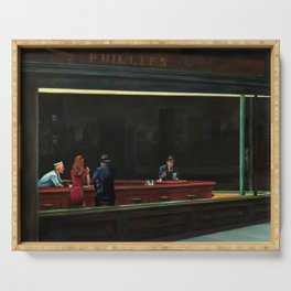 Nighthawks (oil on canvas) Serving Tray