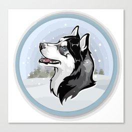 dog in snow Canvas Print