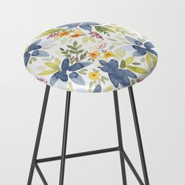 Blue Watercolor Florals Bar Stool