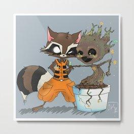 Rocket Raccoon & Baby Groot Metal Print