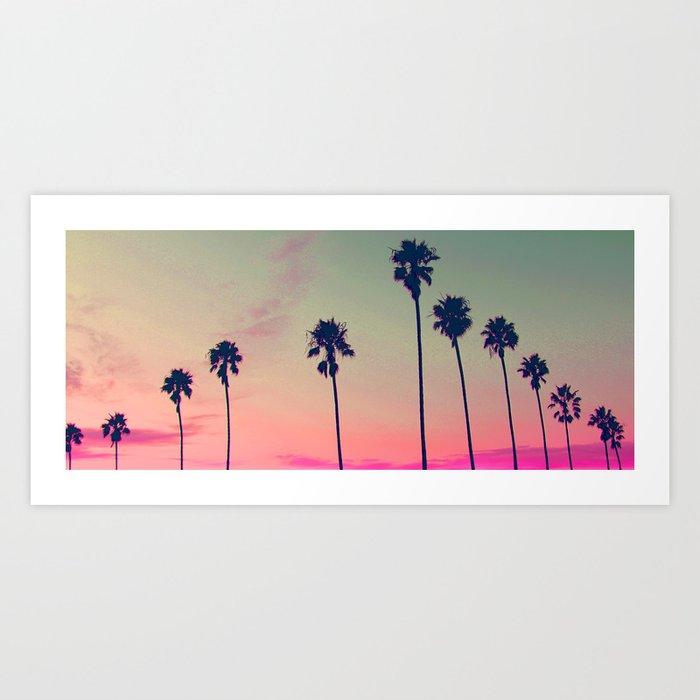 Pink Sunset Palm Tree Silhouette Encinitas California