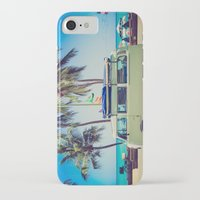 vw bus iPhone & iPod Cases featuring VW Bus Beach Vacation by Limitless Design