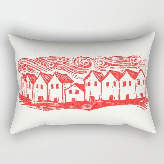 Sad Row (Red) Rectangular Pillow
