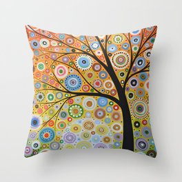 Abstract Art Original Landscape Painting ... Rays of Hope Throw Pillow