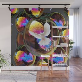 SURREAL WHITE DOVES & IRIDESCENT  SOAP BUBBLES Wall Mural