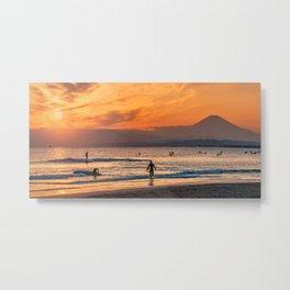 Surfers on Shonan Beach at Sunset, with Mt.Fuji Metal Print