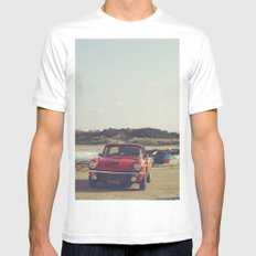 Triumph Spitfire by the sea, with ship, fine art photo, british car, sports car, color, high definit White Mens Fitted Tee MEDIUM