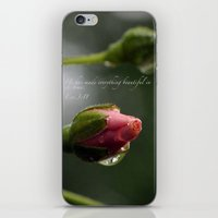 scripture iPhone & iPod Skins featuring Pink Rosebud with scripture. by The Time Catcher