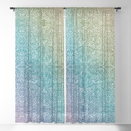 muted rainbow doodle gradient pattern Sheer Curtain
