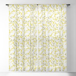 Gold/Yellow ribons with hope wording for childhood cancer awareness Sheer Curtain