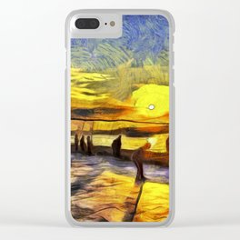 Sunset Fishing Istanbul Van Gogh Clear iPhone Case