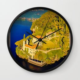 Lake Como Italy Retro Vintage Style Travel Poster or Canvas Picture Wall Clock