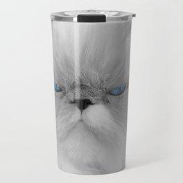 White Angry Cat Travel Mug