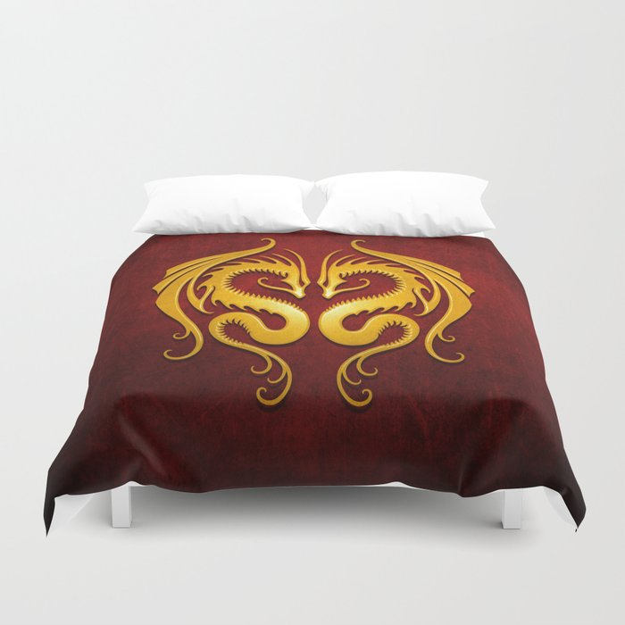 Yellow And Red Twin Tribal Dragons Duvet Cover