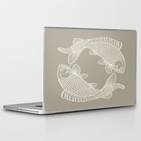 gray Laptop & iPad Skins featuring Koi Alabaster Blue Gray by Beautiful Homes