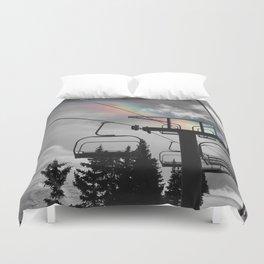4 Seat Chair Lift Rainbow Sky B&W Duvet Cover