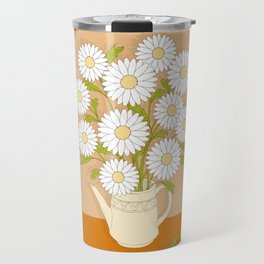 bouquet of white camomiles in the vase Travel Mug