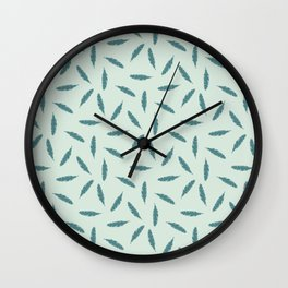 Pillow Fight,Teal on Mint Wall Clock