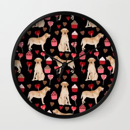 Yellow Lab valentines day hearts cupcakes cute labrador retriever Wall Clock