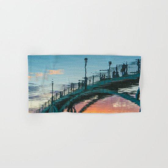 the reflection of the pedestrian bridge Hand & Bath Towel
