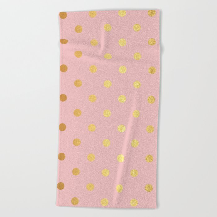 Gold polka dots on rose gold background - Luxury pink pattern Beach Towel