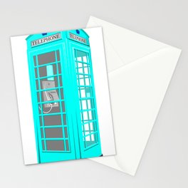 CYAN PHONE BOOTH Stationery Cards