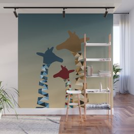 Abstract Colored Giraffe Family Wall Mural
