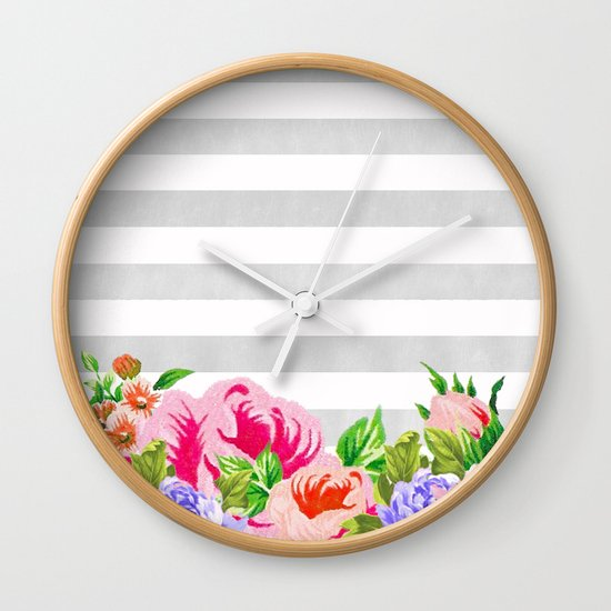 FLORAL GRAY STRIPES Wall Clock