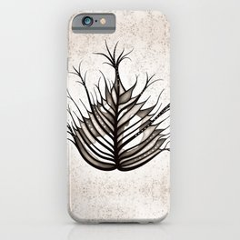 Abstract Hairy Leaf Art In Sepia iPhone Case