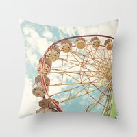 ferris wheel Throw Pillows featuring ferris wheel by Sylvia Cook Photography