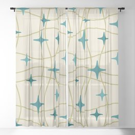Mid Century Modern Cosmic Star Pattern 693 Cream Turquoise Olive Sheer Curtain
