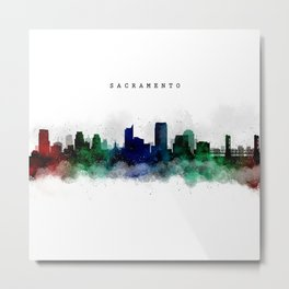 Sacramento Watercolor Skyline Metal Print