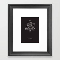 Mark Twain Quote, typography, illustration with Original Signature, Dark Version Framed Art Print
