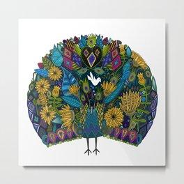 peacock garden white Metal Print