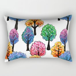 Forest - Tree Pattern Illustration - Acrylic Painting Rectangular Pillow