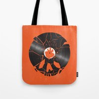 shaun of the dead Tote Bags featuring Shaun of the dead by Wharton