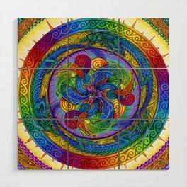 Psychedelic Dragons Rainbow Spirals Mandala Wood Wall Art