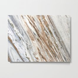 Marble Slab Texture // Gold Silver Black Gray White Stripes Luxury Rugged Rustic Rock Metal Print