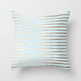 Abstract Stripes Gold Tropical Ocean Sea Turquoise Throw Pillow