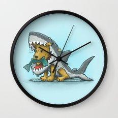 Shark Suit Dog Wall Clock