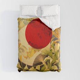 Japanese Ginkgo Hand Fan Vintage Illustration Duvet Cover